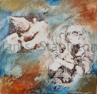 A Mixed Media painting by Janis Stapleton with main colour being Blue Grey and Orange and titled Celtic Dream