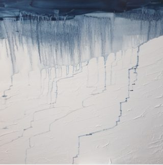 An Oil painting by Jennifer Baird in the Abstract Expressionist style  depicting Landscape Rain and Snow with main colour being Blue and White and titled Rain