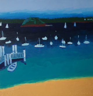 An Oil painting by Jennifer Baird in the Contemporary style  depicting Seascape Beach Boats and Sea with main colour being Blue Green and Yellow and titled Lady Martins