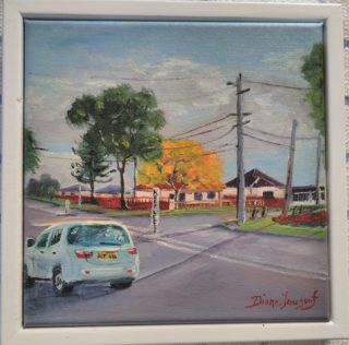 An Oil painting by Diane Yousouf in the Realist style  depicting  Buildings Cars and Clouds with main colour being Black Blue and Brown and titled Autumn Gold