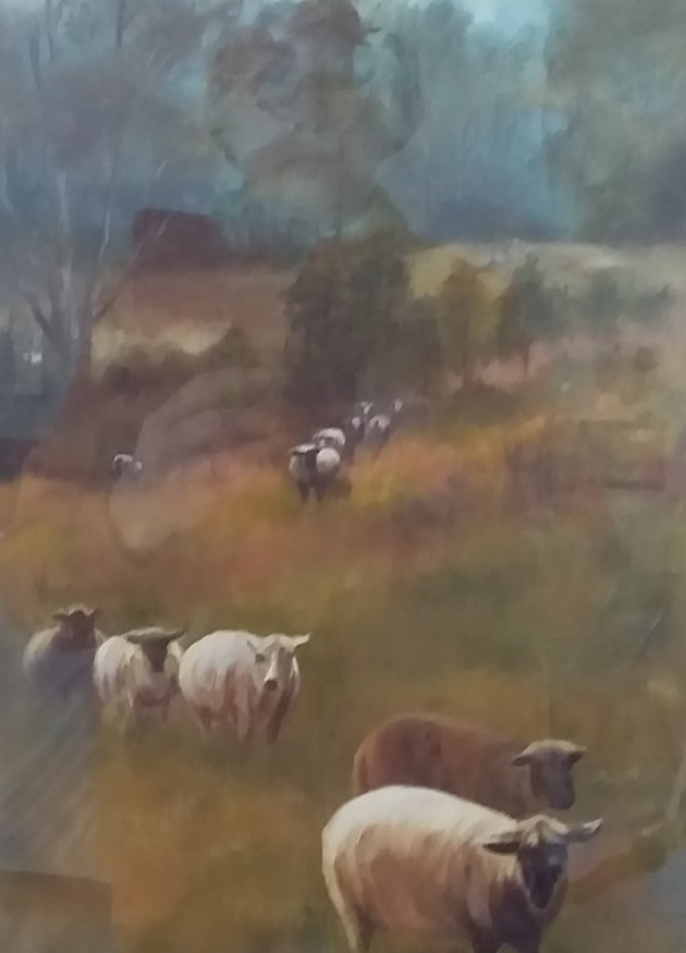 Oil Painting by Jeanette Akkanen titled Sheep at Kurrajong
