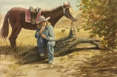 Watercolour Painting by Peter Michalandos titled What's next