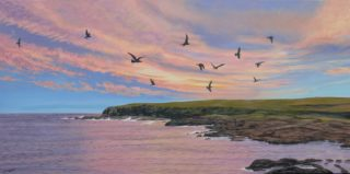 An Acrylic painting by Freda Surgenor in the Realist style  depicting Birds Beach and Sky with main colour being Blue and titled Evening Seagulls