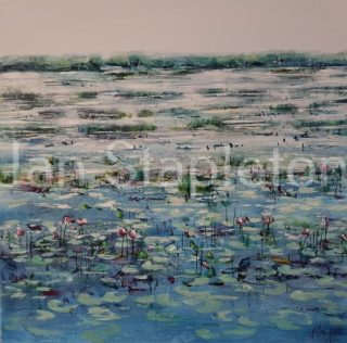 An Acrylic painting by Janis Stapleton depicting Landscape Flowers Outback and Swamp with main colour being Blue and Olive and titled Morning Mist Kakadu
