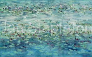 An Acrylic painting by Janis Stapleton depicting Landscape Outback with main colour being Blue and Green and titled Kimberley Lilies in the Light