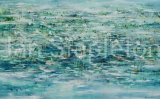 An Acrylic painting by Janis Stapleton depicting Landscape Outback Swamp and Water with main colour being Blue and Green and titled White Lily Billabong