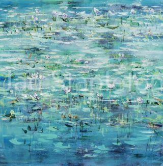 An Acrylic painting by Janis Stapleton depicting Landscape Flowers Outback and Swamp with main colour being Blue and Green and titled Billabong Lilies Violet