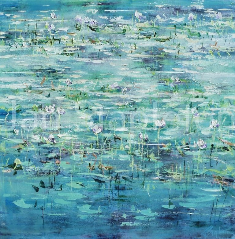 Acrylic Painting by Janis Stapleton titled Billabong Lilies Violet